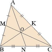 Свойства точки пересечения медиан в треугольнике