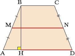 средняя линий в равнобедренной трапеции