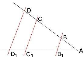 Теорема о пропорциональных отрезках. Из методик репетитора по математике.