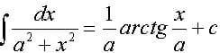 Справочник репетитора по математике. Интеграл, сводящийся к арктангенсу