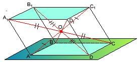 Пересечение диагоналей параллелепипеда