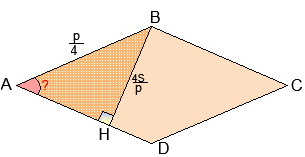 Иллюстрация с решению репетитора по математике. Задача про угол ромба