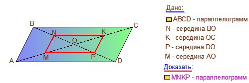 Задание репетитора на середины половинок диагоналей
